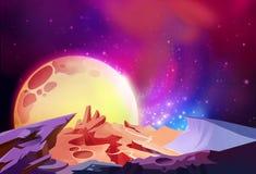 Illustration: Det storartade kosmoset undrar på en främmande planet royaltyfri illustrationer
