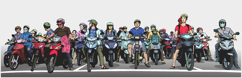 Illustration with detail of busy asian street with motorbikes and mopeds at stop sign. Stylized panorama illustration of vietnamese traffic Stock Photo