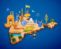 Detailed 3d map of India showing different monument and famous places. Illustration of Detailed 3d map of India showing different monument and famous places Stock Photos