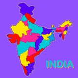 Detailed map of India, Asia with all states and country boundary. Illustration of detailed map of India, Asia with all states and country boundary Royalty Free Stock Photography