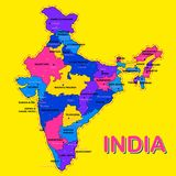 Detailed map of India, Asia with all states and country boundary. Illustration of detailed map of India, Asia with all states and country boundary Royalty Free Stock Image