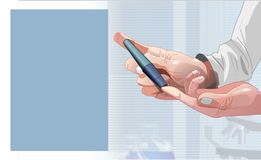 Illustration of diabetic test with gluco meter vector illustration