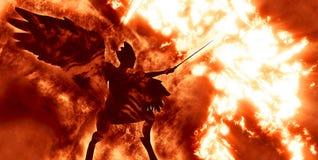 Diabolic demon in hell. Illustration of diabolic demon in hell - 3D rendering vector illustration