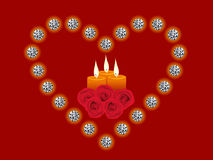 Illustration of diamond heart, candle, rose. Illustration of diamond heart, candle and rose flowers Stock Photos