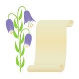 Blume und Rolle. Stockfoto