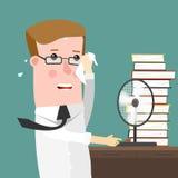 Illustration, die einen Geschäftsmann Sweating Profusely in seinem Büro kennzeichnet Lizenzfreie Stockbilder