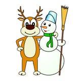 Illustration die Rotwild und der Schneemann. Lizenzfreies Stockfoto