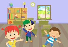 Illustration, die von den glücklichen Kindern genießen im Klassenzimmer ist stock abbildung