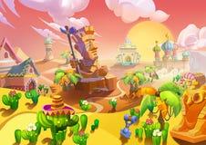Illustration: Die Wüsten-Stadt Am Eingang gibt es einen großen Steinschlagschutz stock abbildung