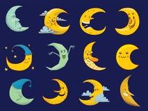 Illustration différente de mois de visage de bande dessinée de lune illustration stock