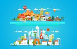 Illustration différente de vecteur de paysages urbains illustration stock