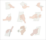 Set of hand holding paper Stock Photos