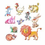 Illustration of different animals Royalty Free Stock Images