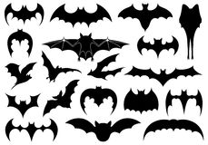 Illustration of different bats. Isolated on white Stock Images