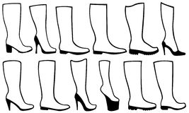 Illustration of different boots Stock Photos