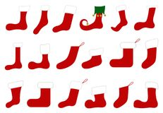 Illustration of different Christmas socks Royalty Free Stock Images
