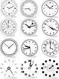 Illustration of different clocks Royalty Free Stock Photo