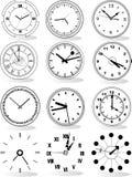 Illustration of different clocks Royalty Free Stock Photo