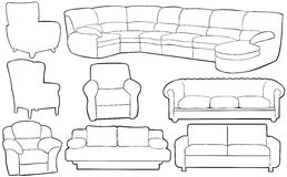 Illustration of different couches Stock Images