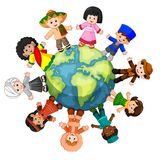 Different culture standing together holding hands Royalty Free Stock Images