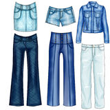 Illustration of different denim and jeans clothes Stock Image