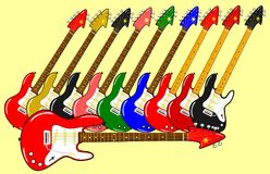 Different electric guitars in different colors with background. Illustration of different electric guitars in different colors with background Vector Illustration