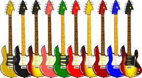Different electric guitars with maple and rosewood neck. Illustration of different electric guitars with different colors and maple and rosewood neck Royalty Free Illustration