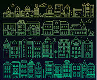 Illustration of different european detailed buildings on black b. Ackground. Big vector set of color urban structures at night. Thin green gradient line art Royalty Free Stock Image