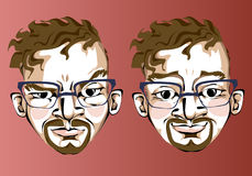 Illustration of different facial expressions of a Royalty Free Stock Photography
