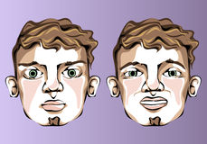 Illustration of different facial expressions of a Stock Photo