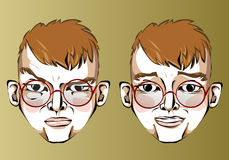 Illustration of different facial expressions of a Stock Image