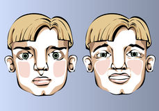 Illustration of different facial expressions of a Royalty Free Stock Image