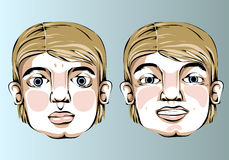 Illustration of different facial expressions of a Stock Photography