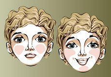 Illustration of different facial expressions of a Royalty Free Stock Photo