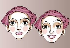 Illustration of different facial expressions of a Royalty Free Stock Images