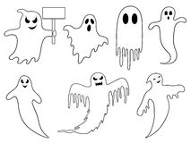 Illustration of different ghosts. On white Royalty Free Stock Photos
