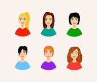 Illustration of different hairstyles. Smiling woman faces in cartoon style. Set of women faces with beautiful and colorful hairstyles. Vector illustration of Stock Images