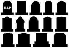 Illustration of different Halloween gravestones. On white Stock Photo