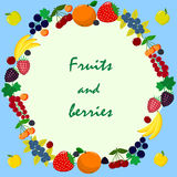 Illustration of different kinds of fruits and berries. stock illustration