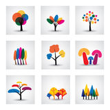 Illustration of different kinds of vector tree icons. This graphic shows common trees like oak, willow, banana, pine, christmas, etc Stock Photos