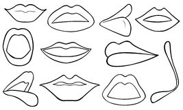 Illustration of different lips Stock Images