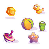 Illustration of different merry child's toys Royalty Free Stock Image
