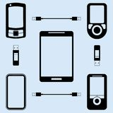 Illustration of different models of phones Royalty Free Stock Photography