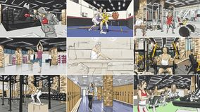 Illustration of different people doing sports in gym. Illustration of different people in gym doing box, playing basketball, relaxing in spa and etc vector illustration