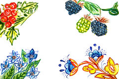 Illustration of different plants, fruits and flowers Royalty Free Stock Photography