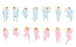 Illustration of different positions that they take in sleep and dream Royalty Free Stock Image