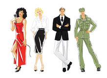 Illustration of different profession people. Vector hand drawn illustration of different profession people on white background Royalty Free Stock Images