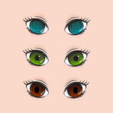 Illustration of different set of eyes Royalty Free Stock Photography