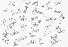 Illustration of different signatures in black ink on a white background