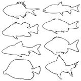 Illustration of different small fish silhouettes Royalty Free Stock Photos